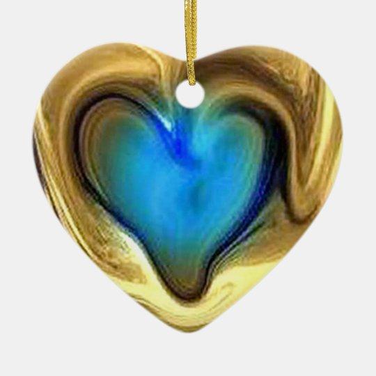 Blue heart ceramic ornament