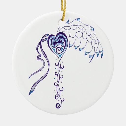 Blue Heart Christmas Tree Ornaments