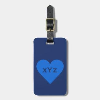 Blue Heart custom luggage tag