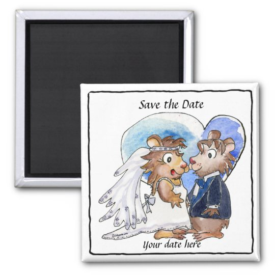 Blue Heart Cute Wedding Save the Date  Magnets