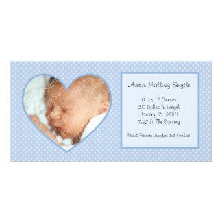 Blue Heart Dots New Baby Photo Card