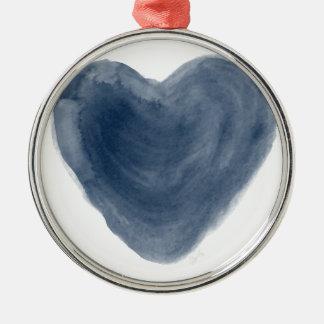 Blue Heart Edition Watercolor Metal Ornament