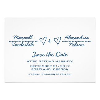 Blue Heart Equation Save the Date Invite