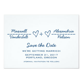 "Blue Heart Equation Save the Date Invite 5"" X 7"" Invitation Card"