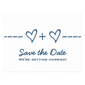 Blue Heart Equation Save the Date Postcard