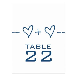 Blue Heart Equation Table Number Postcard