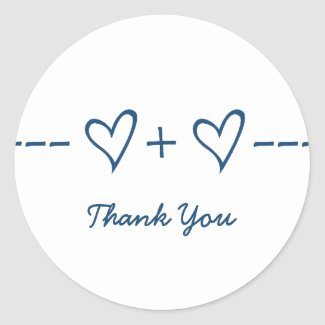 Blue Heart Equation Thank You Stickers
