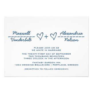 Blue Heart Equation Wedding Invite