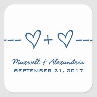 Blue Heart Equation Wedding Stickers