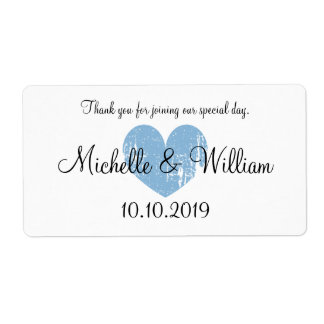 Blue heart favor wedding water bottle labels