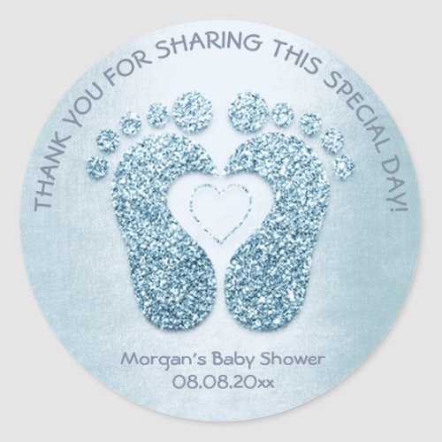 Blue Heart Feet Baby Shower Favor Thank You Boy Classic Round Sticker