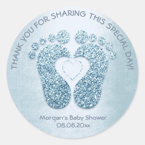 Blue Heart Feet Baby Shower Favor Thank You Boy Classic Round Sticker
