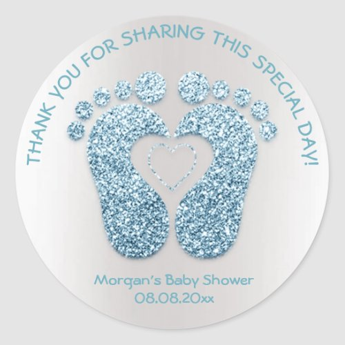 Blue Heart Feet Baby Shower Favor Thank You Gray Classic Round Sticker