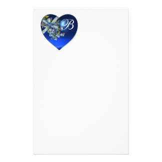 BLUE HEART & FORGET ME NOTS MONOGRAM STATIONERY