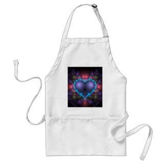 Blue heart fractal adult apron