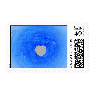 Blue Heart Fractal Postage