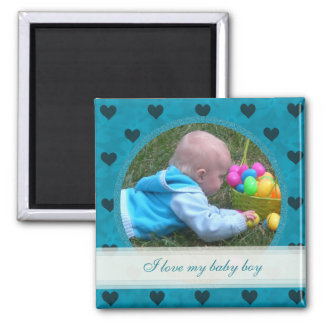 Blue Heart Framed: Baby Boy: Picture Magnet
