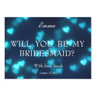 Blue Heart Glitter Will You Be My Bridesmaid Card