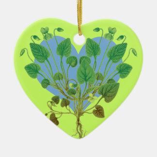 Blue Heart Green Leaves Christmas Ornament