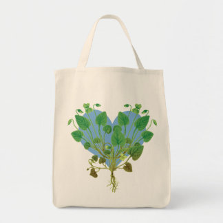 Blue Heart Green Leaves Tote Bag
