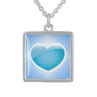 Blue Heart - Happy Birthday Sister Sterling Silver Necklace