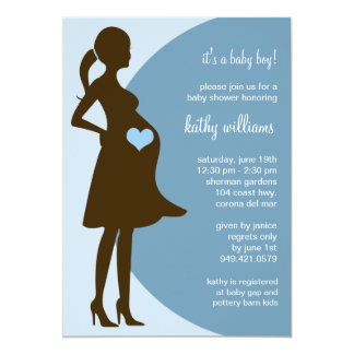 Blue Heart in Tummy Baby Shower Invitation