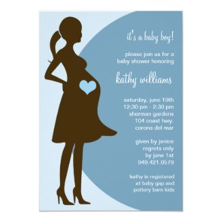 Blue Heart in Tummy Baby Shower Invitation