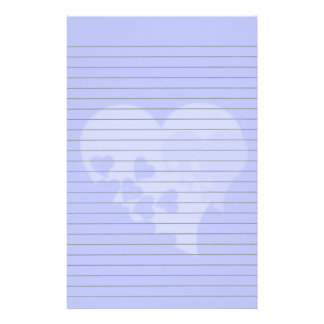 Blue Heart  Lined Stationery