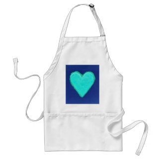 Blue Heart Love Adult Apron