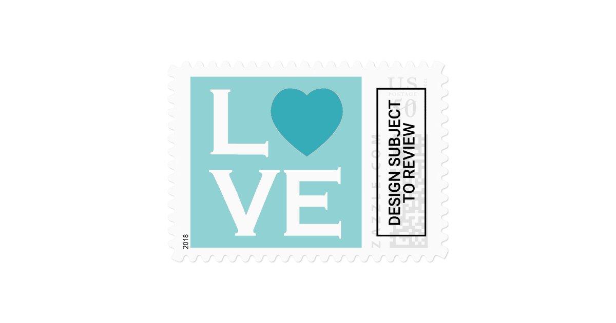 Blue Heart Love Postage Stamps Zazzle Com