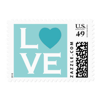 Blue Heart Love Postage Stamps