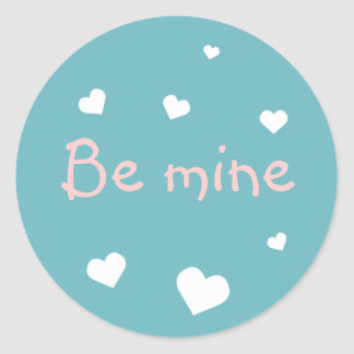 Blue heart love Valentine's day custom party favor Classic Round Sticker