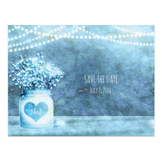 Blue Heart Mason Jar & Baby's Breath Save The Date Postcard