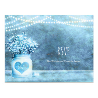 Blue Heart Mason Jar & Baby's Breath Wedding RSVP Postcard