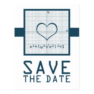 Blue Heart Math Graph Save the Date Postcard