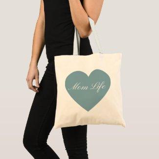 Blue Heart Mom Life Tote Bag