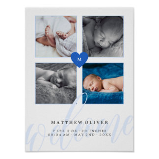 Blue Heart Monogram Baby Photo Collage Poster