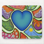 Blue heart of love mouse pad