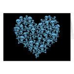 Blue Heart of Skulls Card