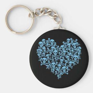 Blue Heart of Skulls Keychain