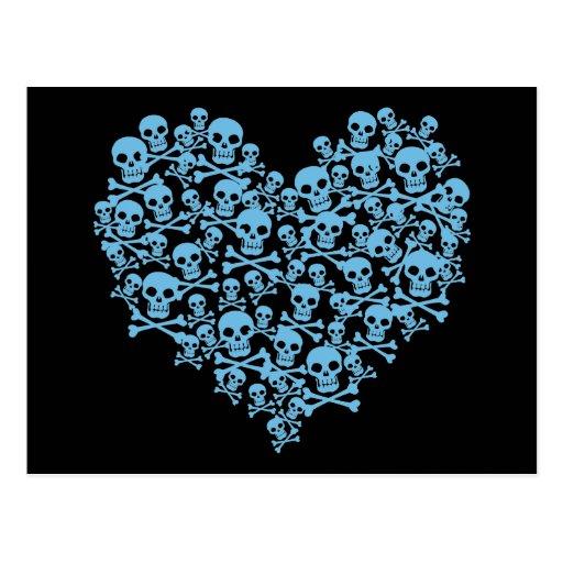 Blue Heart of Skulls Post Card