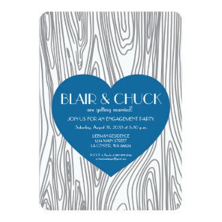 Blue Heart on Faux Wood Invitation