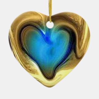 Blue heart Double-Sided heart ceramic christmas ornament