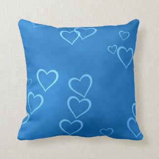 Blue heart outlines pillow