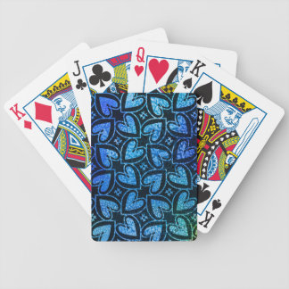 Blue Heart Pattern Bicycle Playing Cards