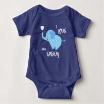 Blue Heart Pattern Elephant Baby Bodysuit