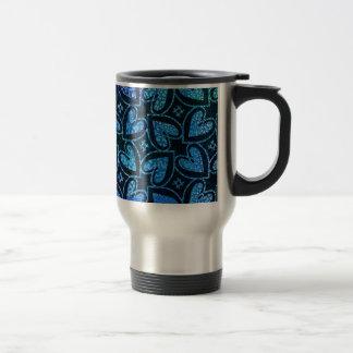 Blue Heart Pattern Travel Mug