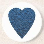 Blue Heart. Patterned Heart Design. Beverage Coaster