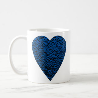 Blue Heart. Patterned Heart Design. Coffee Mug