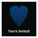 Blue Heart. Patterned Heart Design. Personalized Announcement